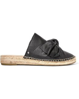 Lynda Bow-embellished Leather Espadrille Slippers
