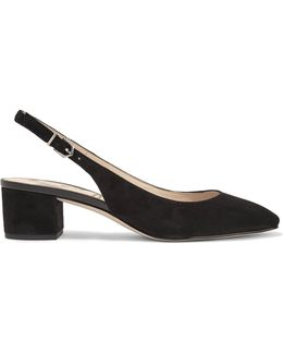 Lorene Leather-trimmed Suede Slingback Pumps