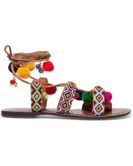 Lisabeth Embellished Lace-up Suede Sandals