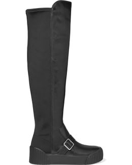 Thompson Paneled Leather And Neoprene Knee Boots