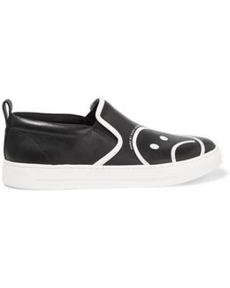 Broome Printed Leather Slip On Sneakers