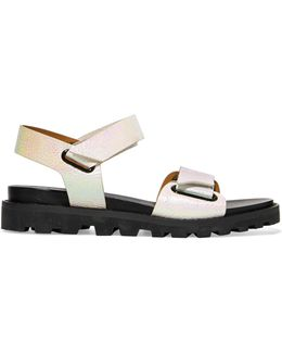 Iridescent Leather Sandals