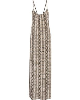Angelina Snake-print Voile Maxi Dress