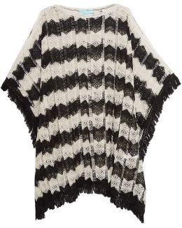Skye Fringed Open-knit Kaftan