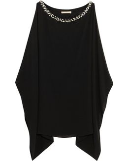 Crystal-embellished Silk-crepe Top
