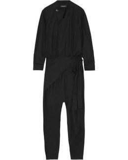 Meery Wrap-effect Cotton Jumpsuit