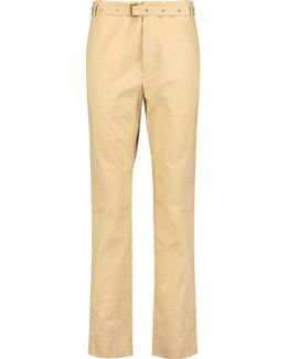 Cotton-poplin Slim-leg Pants