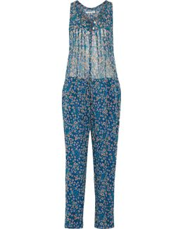 Salina Blue Floral-print Silk Jumpsuit