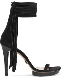 Fringed Suede Platform Sandals