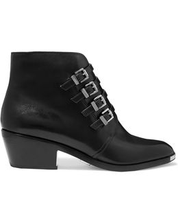 Peggie Buckled Leather Ankle Boots
