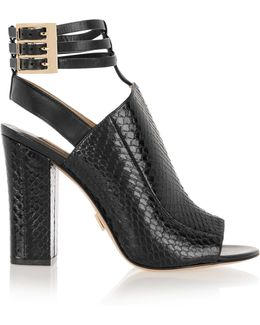 Phaedra Snake-effect Leather Sandals