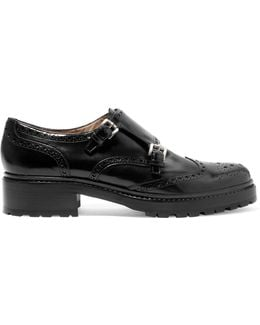 Iggy Perforated Glossed-leather Brogues