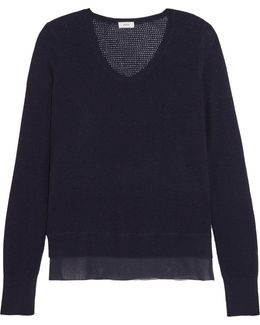 Silk-crepe And Pointelle-knit Wool And Cashmere-blend Sweater