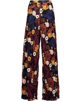Athena Floral-embroidered Mesh Trousers