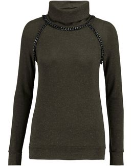 Chain-trimmed Knitted Turtleneck Sweater