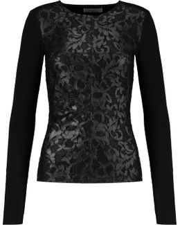 Kathy Metallic Corded Lace And Jersey Top