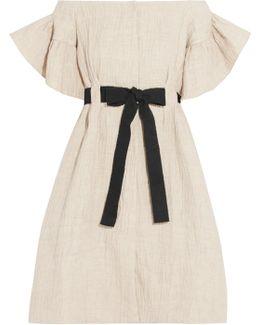 Off-the-shoulder Crinkled Cotton And Linen-blend Dress