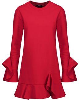 Ruffled Cotton-jersey Mini Dress