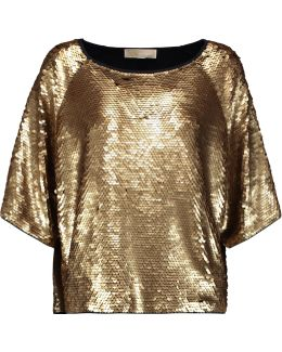 Sequined Cotton-blend Top