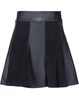 Paneled Leather And Suede Mini Skirt