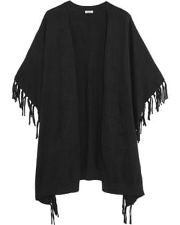Fringed Cotton-blend Poncho