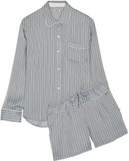 Striped Satin Pajama Set
