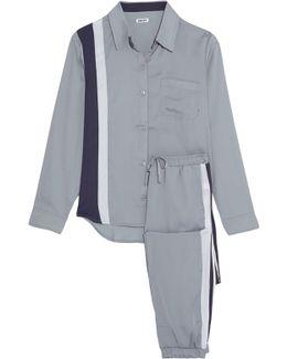 Paneled Satin-crepe Pajama Set