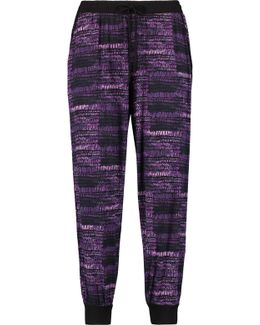 Cropped Printed Stretch-modal Pajama Pants