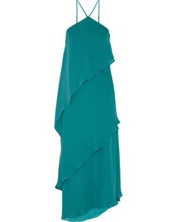 Tiered Silk Crepe De Chine Gown