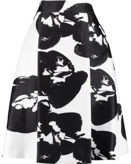Pleated Printed Piqué Skirt