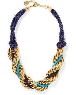 Braided Cord And Gold-plated Necklace