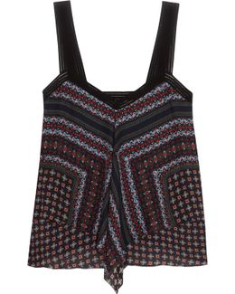 Tiered Printed Silk Top