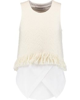 Fringed Woven Cotton-blend Top