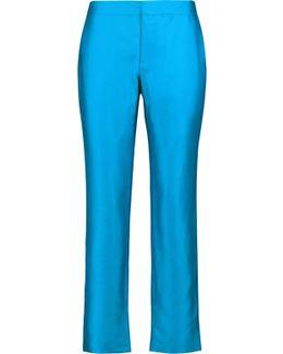Wool And Silk-blend Satin Straight-leg Pants