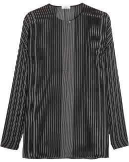Striped Silk-chiffon Blouse
