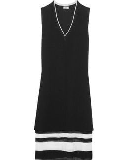 Paneled Striped Stretch-knit And Crepe Dress