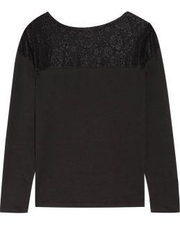 Ines Lace-paneled Pima Cotton Pajama Top