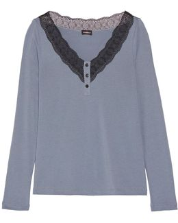 Perugia Lace-trimmed Pima Cotton And Modal-blend Pajama Top