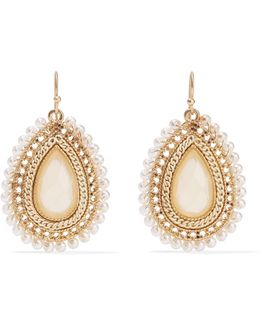 Gold-tone, Faux Pearl And Stone Earrings