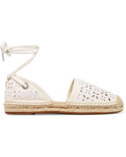 Darci Embroidered Canvas Lace-up Espadrilles