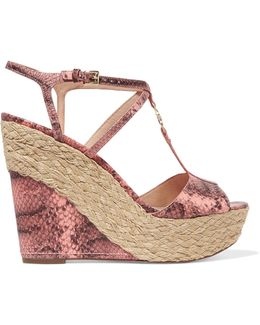 Bethany Snake-effect Leather Wedge Espadrille Sandals