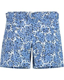 Belted Printed Cotton-blend Shorts