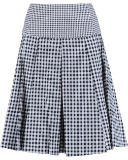 Pleated Gingham Cotton Skirt