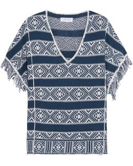 Fringed Cotton And Linen-blend Top