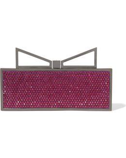 Lady Me Red Carpet Crystal-embellished Gunmetal-tone Clutch
