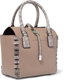 Snake Effect-trimmed Leather Tote