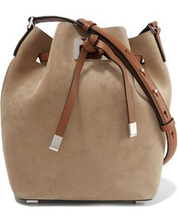 Two-tone Leather-paneled Suede Shoulder Bag