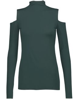 Cutout Stretch-jersey Turtleneck Top