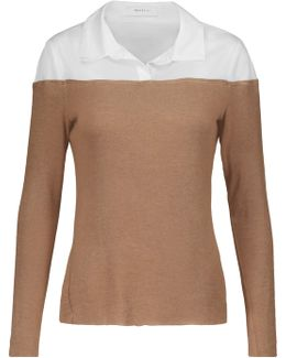Two-tone Cotton-blend Paneled Jersey Sweater