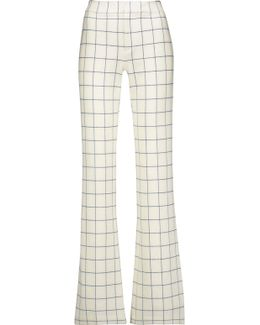 Checked Stretch-twill Bootcut Pants